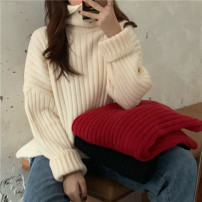 sweater Winter 2020 One size fits all, XXS pre-sale Apricot, black, Christmas red Long sleeves Socket singleton  Regular other 51% (inclusive) - 70% (inclusive) High collar thickening commute routine Solid color Straight cylinder Keep warm and warm