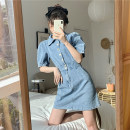 Dress Summer 2020 blue S. M, l, XXS pre sale Short skirt singleton  Short sleeve commute Polo collar High waist Solid color Single breasted A-line skirt puff sleeve 18-24 years old Type A Korean version Old, button 51% (inclusive) - 70% (inclusive) Denim