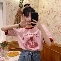 T-shirt Blue, pink One size fits all, XXS pre-sale Summer 2021 Short sleeve Crew neck easy have cash less than that is registered in the accounts routine commute other 31% (inclusive) - 50% (inclusive) Korean version youth character printing