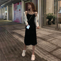 Dress Summer 2020 Black dress g, white cardigan D M. S, one size fits all Mid length dress singleton  Sleeveless commute other High waist Solid color Socket A-line skirt other camisole Type A Simplicity straps 51% (inclusive) - 70% (inclusive)