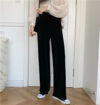 Casual pants Apricot, black One size fits all, XXS pre-sale Winter 2020 trousers Wide leg pants High waist commute thickening 51% (inclusive) - 70% (inclusive) Korean version