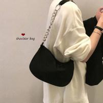 Bag Inclined shoulder bag Nylon  Saddle bag Other / other Black, white brand new leisure time soft Double root One shoulder portable messenger nothing Saddle shape