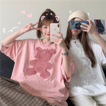 T-shirt White, pink One size fits all, XXS pre-sale Summer 2021 Short sleeve Crew neck easy Medium length routine commute other 31% (inclusive) - 50% (inclusive) Korean version youth Animal design