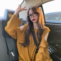 T-shirt Black, ocean blue, mustard One size fits all, XXS pre-sale Summer 2021 Long sleeves Crew neck easy Medium length routine commute other 51% (inclusive) - 70% (inclusive) Korean version youth Solid color