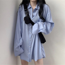 Dress Autumn 2020 White, blue Average size Mid length dress singleton  Long sleeves commute Polo collar Solid color Single breasted routine Korean version Pocket, button 51% (inclusive) - 70% (inclusive)