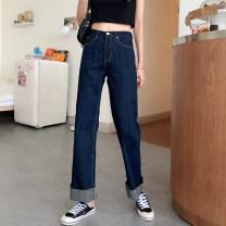 Jeans Autumn 2020 Navy Blue S. M, l, XXS pre sale trousers High waist Wide legged trousers routine Color contrast, buttons, multiple pockets other Dark color 91% (inclusive) - 95% (inclusive)
