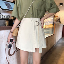 Casual pants Black, blue, apricot Summer of 2019 shorts Wide leg pants High waist commute routine 71% (inclusive) - 80% (inclusive) Other / other Cotton blended fabric Korean version Asymmetry