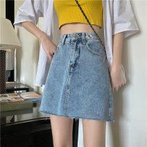 skirt Summer 2020 S. M, l, XL, XXS pre-sale blue Short skirt commute High waist A-line skirt Type A 18-24 years old Button, zipper Korean version