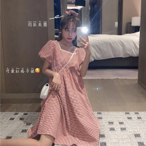Dress Summer 2020 Red (hair loop), black (hair loop) One size fits all, XXS pre-sale Mid length dress singleton  Short sleeve commute square neck High waist lattice Socket A-line skirt puff sleeve Type A Korean version Stitching, folding 51% (inclusive) - 70% (inclusive)
