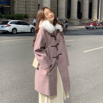 woolen coat Winter 2020 One size fits all, XXS pre-sale violet other 51% (inclusive) - 70% (inclusive) Medium length Long sleeves commute Single breasted routine Hood Solid color Straight cylinder Korean version Pocket, button