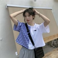 T-shirt White, red, black One size fits all, XXS pre-sale Summer 2021 Short sleeve Crew neck Straight cylinder have cash less than that is registered in the accounts routine commute other 30% and below Korean version youth Splicing