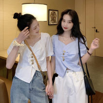shirt White, blue S. M, XXS pre sale Summer 2021 other 31% (inclusive) - 50% (inclusive) Short sleeve commute Short style (40cm < length ≤ 50cm) square neck Socket puff sleeve Solid color Self cultivation Other / other Korean version Asymmetry