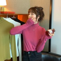 T-shirt White, black, olive green, raspberry One size fits all, XXS pre-sale Winter 2020 Long sleeves Half high collar Self cultivation Regular routine commute other 96% and above Korean version youth Solid color