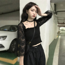 Lace / Chiffon Autumn 2020 black One size fits all, XXS pre-sale Long sleeves Versatile Socket singleton  Self cultivation have cash less than that is registered in the accounts square neck Solid color routine Splicing, mesh 51% (inclusive) - 70% (inclusive)