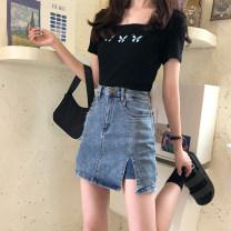 skirt Summer 2020 S. M, l, XL, XXS pre-sale blue Short skirt commute High waist skirt Solid color Type A 71% (inclusive) - 80% (inclusive) Denim Pockets, chains, buttons Korean version