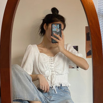 shirt white One size fits all, XXS pre-sale Summer 2020 other 31% (inclusive) - 50% (inclusive) Short sleeve Sweet Short style (40cm < length ≤ 50cm) square neck Frenulum puff sleeve Solid color Self cultivation Fold, strap college