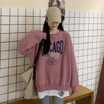 Sweater / sweater Winter 2020 Red, blue One size fits all, XXS pre-sale Long sleeves Medium length Socket singleton  Plush Crew neck easy commute routine letter 30% and below Korean version printing cotton Cotton liner