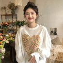 T-shirt White, pink One size fits all, XXS pre-sale Spring 2021 Long sleeves Crew neck easy Medium length puff sleeve commute cotton 96% and above Korean version youth