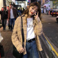 shirt Navy, Khaki Average size Spring of 2018 other 96% and above Long sleeves commute Medium length stand collar Single row multi button Bat sleeve lattice 18-24 years old Straight cylinder Other / other Korean version