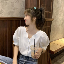 shirt White, purple, blue One size fits all, XXS pre-sale Summer 2020 other 96% and above Short sleeve commute Regular V-neck Single row multi button puff sleeve Solid color Straight cylinder Korean version Button
