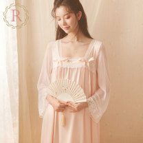 Nightdress ROSE TREE Light green light pink XS S M L XL Sweet Long sleeves pajamas longuette spring Solid color youth cotton More than 95% Mesh + Cotton tba048 Spring 2021 Polyamide fiber (nylon) 90% polyurethane elastic fiber (spandex) 10% Pure e-commerce (online only)