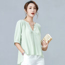 Lace / Chiffon Summer 2020 White, bean green M,L,XL Short sleeve commute Socket singleton  easy Regular V-neck Solid color routine 30-34 years old The phantom of beauty ZL20111 Pleat, fold, asymmetry Korean version 96% and above polyester fiber