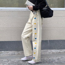 Women's large Spring 2021 Apricot, black, blue Big L, big XL, big M, big 2XL, big 3XL, big 4XL trousers singleton  commute easy moderate Korean version Other / other 18-24 years old 71% (inclusive) - 80% (inclusive) trousers