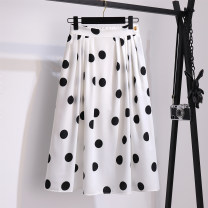 skirt Summer 2021 S,M,L,XL white Mid length dress commute High waist A-line skirt Dot Type A 18-24 years old Chiffon other printing Korean version