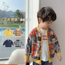 Plain coat Other / other male 80cm,90cm,100cm,110cm,120cm,130cm,140cm Navy, yellow spring and autumn leisure time Zipper shirt There are models in the real shooting routine nothing Cartoon animation cotton Crew neck Polyester 100% Class B