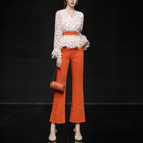 Fashion suit Spring 2021 S,M,L,XL White Long Sleeve + orange (5-7 days delivery), white Long Sleeve + orange (spot), white short sleeve + orange (5-7 days delivery), white short sleeve + orange (spot) 25-35 years old Duffy fashion QC22414 96% and above polyester fiber