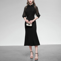Dress Spring 2020 Classic black (5-7 days delivery), classic black (in stock) S,M,L,XL,2XL Mid length dress singleton  elbow sleeve street square neck middle-waisted Solid color zipper other raglan sleeve Others 25-29 years old Type X Duffy fashion Lace up, stitching, zipper HC17940 More than 95%