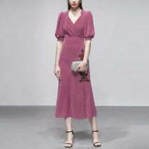 Dress Summer of 2019 Picture color (5-7 days delivery), picture color in stock S,M,L,XL Mid length dress singleton  Short sleeve commute V-neck middle-waisted Solid color zipper other puff sleeve Others 25-29 years old Type X Duffy fashion Retro Embroidery, fold, zipper M14876F polyester fiber