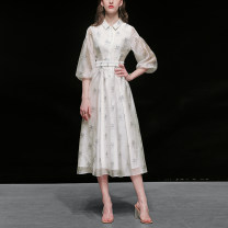 Dress Spring 2020 S,M,L,XL,2XL longuette singleton  three quarter sleeve street square neck middle-waisted Decor Single breasted Big swing bishop sleeve Others 25-29 years old Type X Duffy fashion More than 95% Chiffon polyester fiber Europe and America