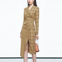 Dress Spring 2021 Khaki (5-7 days delivery), khaki (in stock) S,M,L,XL Mid length dress singleton  Long sleeves street tailored collar High waist lattice Socket One pace skirt routine Others 25-29 years old Type X Duffy fashion Pleating, stitching, zipper, printing DC22099G More than 95% other