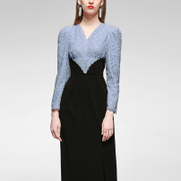 Dress Spring 2021 Blue + black (reserved), blue + black (in stock) S,M,L,XL longuette singleton  Long sleeves commute V-neck High waist Solid color zipper One pace skirt puff sleeve Others 25-29 years old Type X Duffy fashion Retro Stitching, zipper, lace M21597F More than 95% polyester fiber