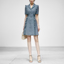 Dress Summer 2021 Grey blue (7-10 days delivery), grey blue (in stock) S,M,L,XL Mid length dress singleton  Short sleeve street tailored collar middle-waisted Solid color Single breasted A-line skirt routine Others 25-29 years old Type X Duffy fashion Button, fold QC23180J other polyester fiber