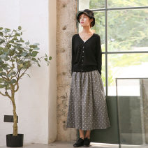 skirt Spring 2021 One size fits all, can be customized in other sizes Grey dot (cotton printing) longuette commute High waist A-line skirt other Type A More than 95% other cotton