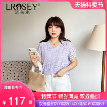 Women's large Summer 2021 violet Large L Large XL Large XXL large XXL large XXL large XXXL shirt singleton  commute Straight cylinder moderate Socket Short sleeve Plants and flowers Korean version V-neck routine Cotton nylon Three dimensional cutting routine Lrosey / blue water 25-29 years old