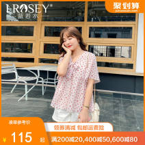 Women's large Summer 2021 Pink Large L Large XL Large XXL large XXL large XXL large XXXL shirt singleton  commute easy moderate Socket Short sleeve Broken flowers Korean version V-neck routine polyester Three dimensional cutting pagoda sleeve S81928 Lrosey / blue water 25-29 years old Bandage bow