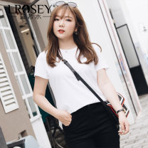 Women's large Summer 2021 White green purple Large L Large XL Large XXL large XXL large XXL large XXXL T-shirt singleton  commute Self cultivation thin Socket Short sleeve Solid color Korean version Crew neck routine Cotton others routine L1922 Lrosey / blue water 25-29 years old