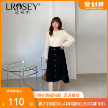 Women's large Spring 2021 Top skirt Large L Large XL Large XXL large XXL large XXL large XXXL Other oversize styles Two piece set commute easy moderate Socket Long sleeves Shape solid color Korean version Polo collar routine polyester Three dimensional cutting bishop sleeve Lrosey / blue water