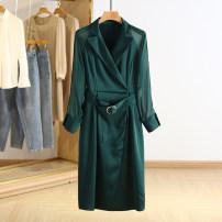 Dress Spring 2021 Dark green, Tibetan green M,L,XL,2XL Mid length dress singleton  Long sleeves square neck Socket Type A Other / other RKR15L019 More than 95% polyester fiber