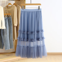 skirt Spring 2021 S,M,L,XL Black, beige, haze blue Mid length dress commute Natural waist Solid color Type A RKR15Q007 More than 95% Other / other Korean version