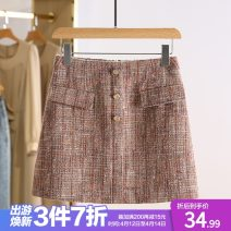 skirt Autumn 2020 S,M,L,XL Powder grid Short skirt commute Natural waist lattice Type A AER07Q019 31% (inclusive) - 50% (inclusive) Other / other Korean version