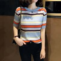 Wool knitwear Summer 2021 S 2, m 3, L 4, XL 5 wathet Short sleeve singleton  Socket other 31% (inclusive) - 50% (inclusive) Regular Thin money commute Self cultivation Low crew neck routine stripe Socket Korean version Pinge Dixin