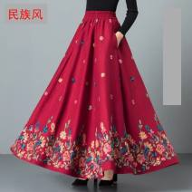 skirt Winter 2020 3xl2-8-2-9, xxl2-6-2-7, l2-2-2-3, m2-2-1, xl2-4-2-5 B61-q005-110 Red New Dragon and Phoenix longuette commute High waist Umbrella skirt Solid color Type A B48549 other Other / other Cellulose acetate Embroidery