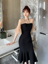 Dress Summer 2021 black S,M,L Mid length dress singleton  elbow sleeve commute square neck Solid color zipper One pace skirt pagoda sleeve Others Type X lady Splicing mesh other