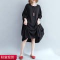 Women's large Autumn of 2019 black Big size average Dress singleton  commute easy moderate Socket Short sleeve lattice literature Crew neck Medium length cotton routine Other / other Middle-skirt
