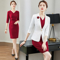 Professional dress suit S,M,L,XL,XXL,XXXL Navy, white top, white top + Navy Dress, black fishtail skirt, white top + Black fishtail skirt, red dress, white top + red dress Spring 2020 three quarter sleeve Jacket, other styles A-line skirt 25-35 years old 51% (inclusive) - 70% (inclusive) cotton