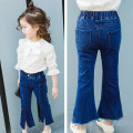 trousers Other / other female spring and autumn trousers Korean version There are models in the real shooting Jeans Leather belt middle-waisted Denim Don't open the crotch Class B 2, 3, 4, 5, 6, 7, 8, 9, 10 years old Chinese Mainland Zhejiang Province Huzhou City
